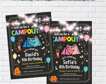 camping birthday, birthday bonfire, camping party, camping invitation, bonfire invitation, camp birthday, girl camping, boy camping,  988
