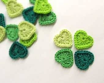Crocheted hearts applique 0.8 inches green tiny appliques, set of 16