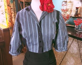 Vintage 1950s Shirt navy blue novelty stripe print M L Rockabilly 50s