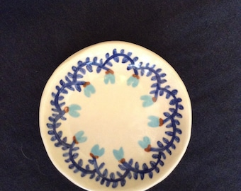 Handmade porcelain ring or trinket dish with painted flowers