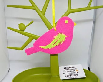 14.5x8cm NEON PINK and GREEN Handmade bird decoration, felt bird Christmas tree decoration, pink bird decorations, bird Christmas decoration