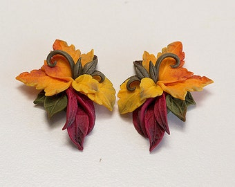 Autumn leaves earrings. Red yellow earrings. Maple Leaf earrings. Polymer clay jewelry. Fall leaves jewelry. Autumn jewelry