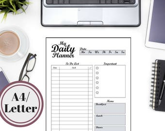 My Daily Planner Printable PDF, Life Planner, Organizer, Sizes A4 Ans Letter Size