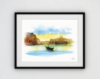 Watercolor painting, Morning in Venice, Italian landscape, Digital download, Journey to Italy, Large poster.