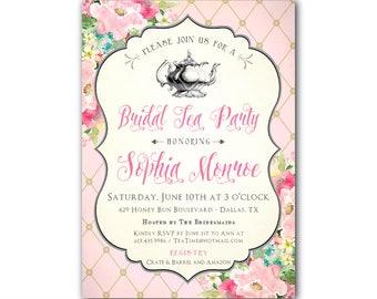 Bridal Tea Party Invitation, Bridal Tea Shower Invitations, Tea Party Invitations, Bridal Shower Tea Party Invitation, Printable or Printed