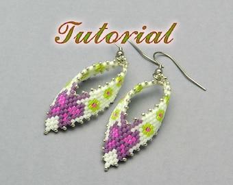 Beaded Earrings Tutorial, Russian Leaf Earrings Beading pattern, Butterfly earrings tutorial, Seed Bead Earrings, Earrings Peyote Pattern