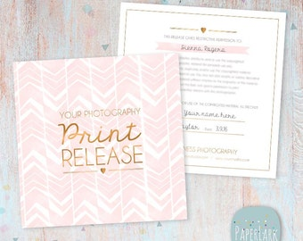 Photography Print Release Card - Photoshop template - VG008 - INSTANT DOWNLOAD