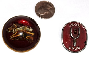 SALE..... Vintage Collectible, Art Deco Era, 3 Horse Bridle Harness Button and Iron Spur 2  Pin