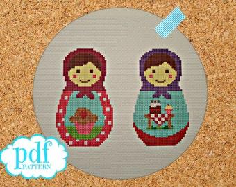 Two Little Cupcakes Babushkas cross stitch pdf pattern. Matryoshkas, Russian Dolls needlepoint instant digital download epattern