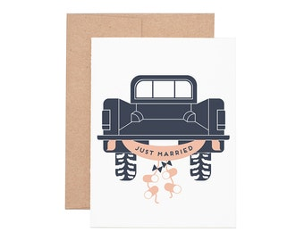 Just Married Letterpress Greeting Card - Wedding Card | Congratulations | Congrats | Greeting Cards | Letterpress Cards