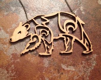 Laser Cut Spirite Bear Necklace