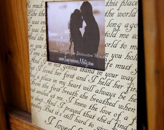 ANY Song Lyrics Picture Frame, Personalized Gift, Custom Frame, Wedding gift, Father Daughter dance, Mother Son, First Dance, Couple Song
