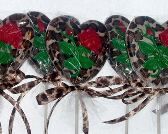 Chocolate Heart and Rose Lollipops Leopard Print weddings showers birthdays Valentine's Day