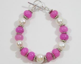 Spring Bracelet of Malaysian Jade, Freshwater Pearls