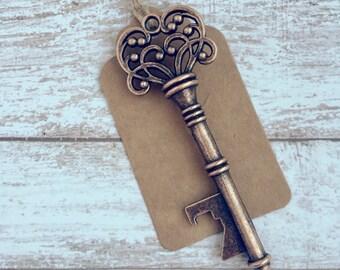 Set of 125 - Vintage Key Bottle Opener With Tag Wedding Favor * Antique Copper Steampunk Skeleton Key Bottle Opener * Unique