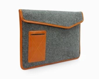 Feutre de 15 pouces MacBook Pro étui MacBook Pro sac MacBook 15 manche 15 cas MacBook Pro MacBook avec devant en cuir poche personnalisé E2027