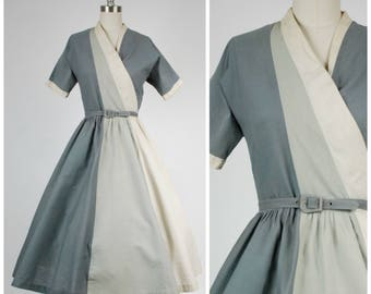 Vintage 1950s Dress - Smashing Greyscale Colorblock 50s Cotton Day Dress with Bold Asymmetric Ombre