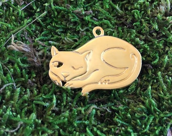 "Gold Kitty Cat Charm, 19mm, 1.25"", 1PC"