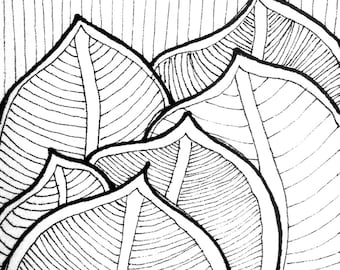 013 Tropical Fantasy - ACEO Original pen and ink drawing on paper