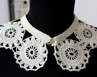 Crochet collar, White vintage collar, Crochet flower choker, Lace vintage style collar, Romantic gift for her