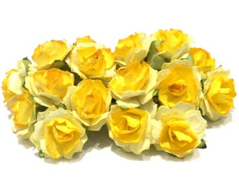 Two Tone Yellow Tattered Mulberry Paper Roses Tr012