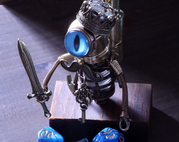 The King - Steampunk Minion Robot Sculpture with blue eye,mustache,steampunk crown, sword, key, tools and a set of DnD dice
