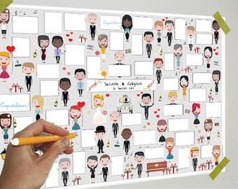 Wedding Poster - 40 bubbles - guestbook, download, bubbles, messages, signatures, gift, poster, souvenir, party