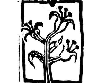"thistle linoleum block print - 9"" x 12"" wall art"