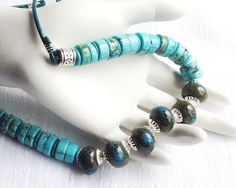Blue Necklace. Green Necklace. Turquoise Necklace. Aqua Necklace. Silver Necklace. Leather Cord Necklace. Chunky Necklace. Teal Necklace.