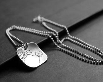 Dandelion Necklace, Hand Stamped Necklace, Dandelion Fluff Sterling Silver Square, Dandelion Seeds, Nature Necklace, GBK's MTV Movie Awards