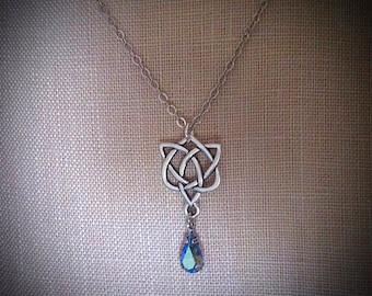 Large celtic heart necklace swarovski crystal heart pendants blue aura crystal necklace celtic heart pendant blue aurora borealis aquamarine jewelry sapphire heliotrope celtic heart pendant aloadofball