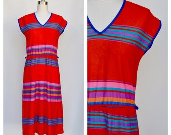 1980s rainbow stripes dress / small