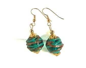 Glass Swirl Bead Earrings