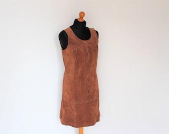Brown Suede Leather Mini Dress Short Jumper Sarafan Women's Bib Overalls Dress Suede Leather Mini Tunic Sleeveless dress  Small  Size