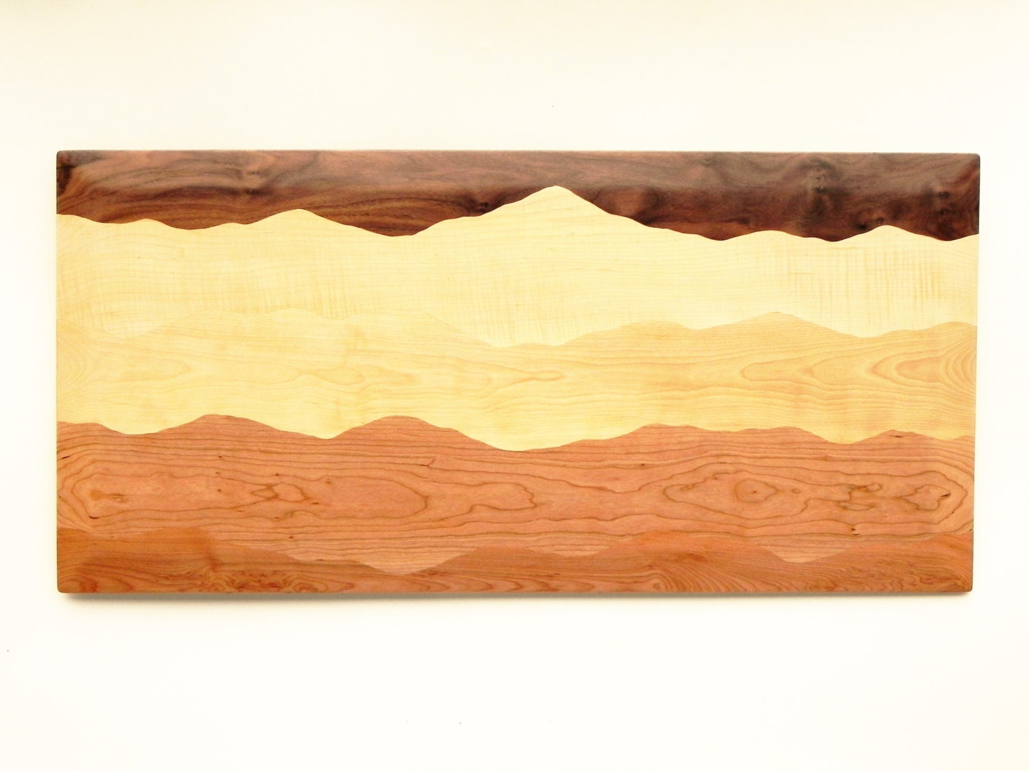 Mountain wall art /Black walnut, Tiger maple, Curly birch, Cherry ...