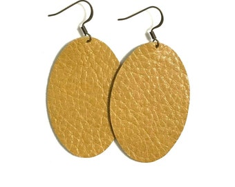 Large Leather Earrings; Leather Earrings; Leather Oval Earrings; Yellow Leather Earrings; Lightweight Earrings; Statement Earrings