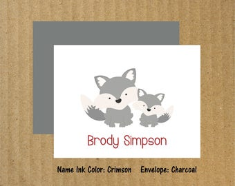 Baby Fox Note Cards, Set of 25, Fox Note Cards, Baby Thank You Cards, Mama & Baby Fox, Fox Note Cards, Fox Stationery, Baby Shower Thank You