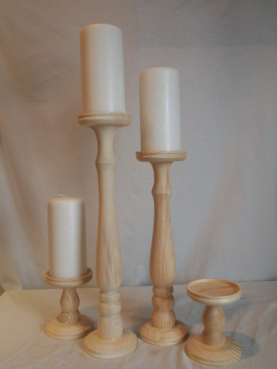 Unfinished Tall Wooden Candle Holder Set of 4