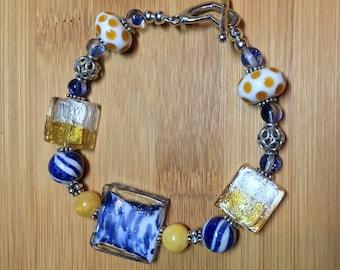 Fighting Irish Game Day Team Spirit Bracelet Notre Dame Blue and Gold Bracelet Game Day Leprechaun Bling