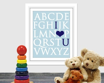 I love you Print, Alphabet Printable, Nursery Print, Nursery Room Print, Wall Art, Instant Download, Baby Room, Love Typography, Artwork