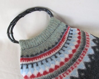 Upcycled Sweater Bag, Project Bag, Fair Isle