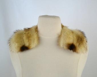 Vintage Honey Blonde and Brown Ermine Fur Collar, Real Fur Collar, Summer Ermine Fur