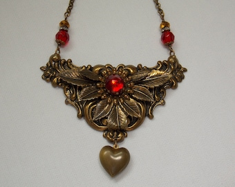 Vintage Assemblage Necklace with Red Rhinestone and Bronze Puffy Heart - Valentines Day