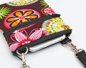 Travel Phone Crossbody, iPhone 7 Crossbody Bag, Samsung S8  Purse, Cell Phone Purse, Travel Small Cross Body W/Strap - carnival blooms
