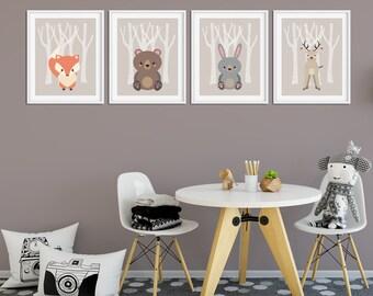 Nursery Wall Art, Nursery Prints, Set of Nursery Prints, Wall Art Prints, Nursery Art, Woodland Nursery, Animal Art Nursery, Unisex Nursery