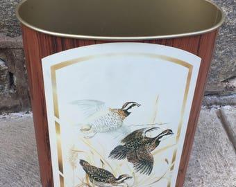 Vintage Metal Brown Pheasant Wildlife Trashcan