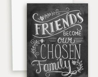 Friendship Card - Best Friend Card - Chalkboard Art - Hand Lettering - Chalk Art - Chalkboard Note Card