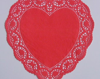 16 Red Heart shaped paper doilies, 10 inch size, Valentine's Day, Wedding, Party decor