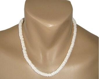 Hawaiian Jewelry Handmade Medium Puka Shells Choker Necklace with Koa Wood Bead Accents from Maui, Hawaii