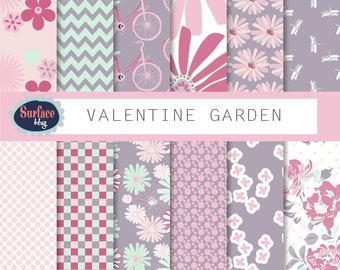 Floral Digital Paper VALENTINE GARDEN Floral background, Hand drawn floral, Pink floral paper, Digital paper bicycle Scrapbook paper